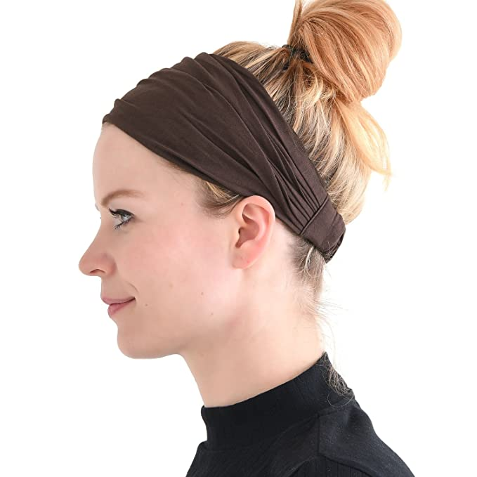 ae5d40c321d Brown Japanese Bandana Headbands for Men and Women - Comfortable Head Bands  with Elastic Secure Snug Fit Ideal Runners Fitness Sports Football Tennis  ...