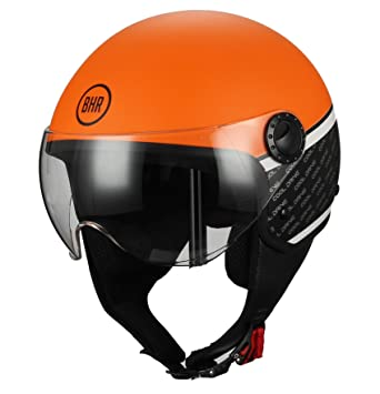 BHR - Casco para moto Demi-Jet - Linea One 801 - Color naranja -