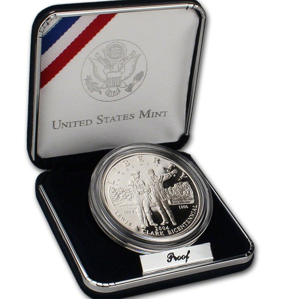 2004 P Commemorative Lewis /& Clark 90/% Proof Silver Dollar in OGP