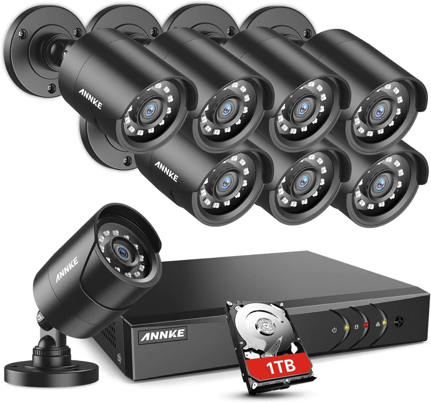 Amazon Com Annke 5mp Lite Security Camera System Outdoor 8 Channel H 265 Dvr And 8x1920tvl Ip66 Weatherproof Home Cctv Cameras Smart Playback Instant Email Alert With Images 1tb Hard Drive Y200 Camera