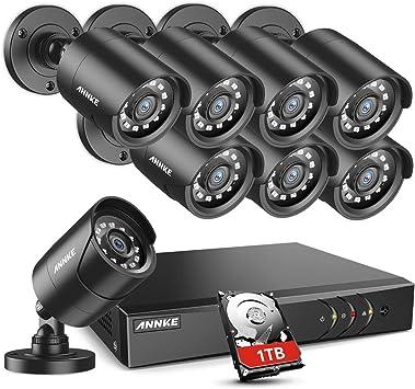 ANNKE 1080P Lite DVR 8CH 2MP HDMI Outdoor Smart Security Camera CCTV Kit 1TB HDD