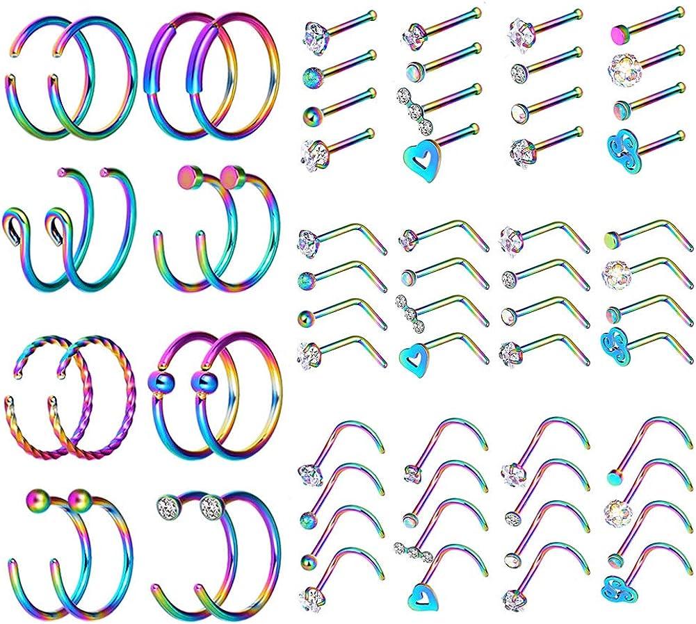 YOFANST 20G Nose Ring Hoop Septum Rings L-Shaped S-Shaped Nose Pin Studs Bone Tragus Cartilage Rings