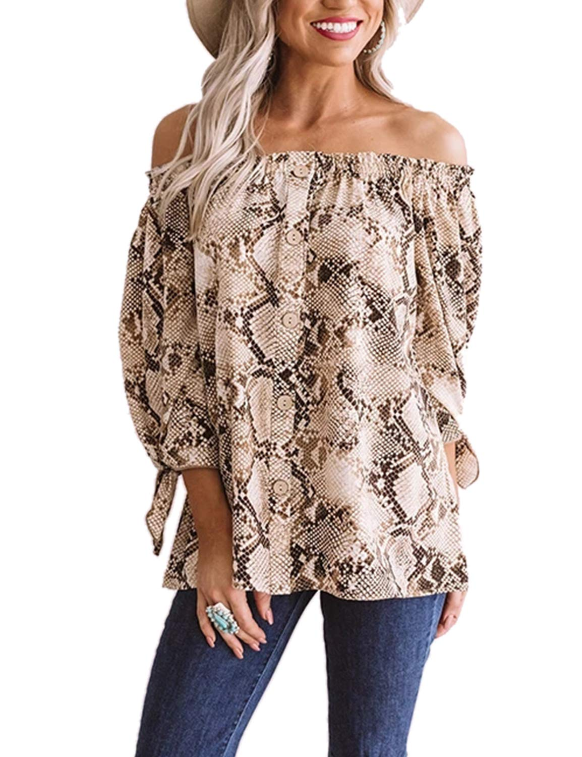MAY Women's Off The Shoulder Top Tie Knot Snakeskin Chiffon Loose Blouse Shirt