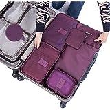 SZTARA Travel Organisers Essential Bags-in-Bag Travel Storage Waterproof Nylon Drawstring Dry Bag Clothes Suitcase Luggage Storage Bags Set of 6 BIG SPACE Purple