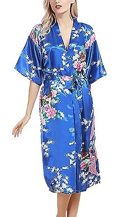 Albornoces Batas Mujer Tallas Grandes Elegante Mangas 3/4 V Cuello Camisones Sleepwear Impresión Floral Baño Albornozes Casual Moda Homewear Confort Pijamas ...