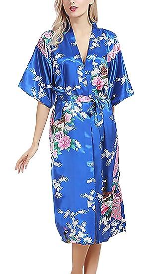 Pijamas Mujer Tallas Grandes Elegante Mangas 3/28 V Cuello Impresión Floral Baño Albornozes Modernas
