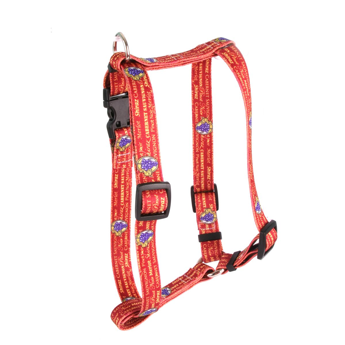 Yellow Dog Design Red Wine Roman Style ''H'' Dog Harness, Large-1'' Wide and fits Chest of 20 to 28''