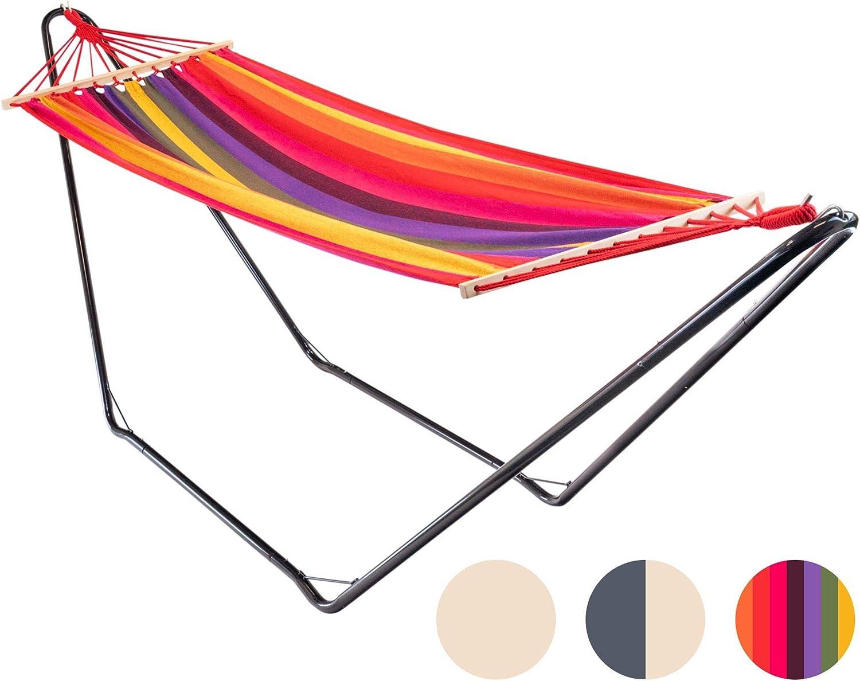Multicolor Ideal para Exteriores Harbour Housewares Hamaca con Soporte y Barras separadoras Algod/ón