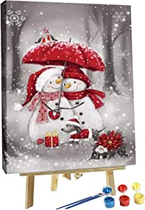 Syfinee Paint by Numbers Kit Snowman DIY Acrylic Painting Paint by Number Kit for Kids Adults Students Beginner DIY Canvas Painting by Numbers Painting Arts Craft for Decoration Xmas Gifts