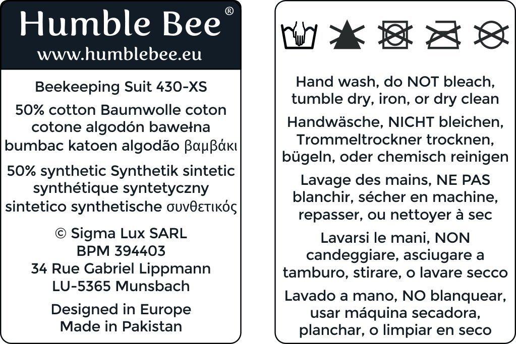 Humble Bee 430-S Bel/üfteter Imkeranzug mit Rundschleier Small