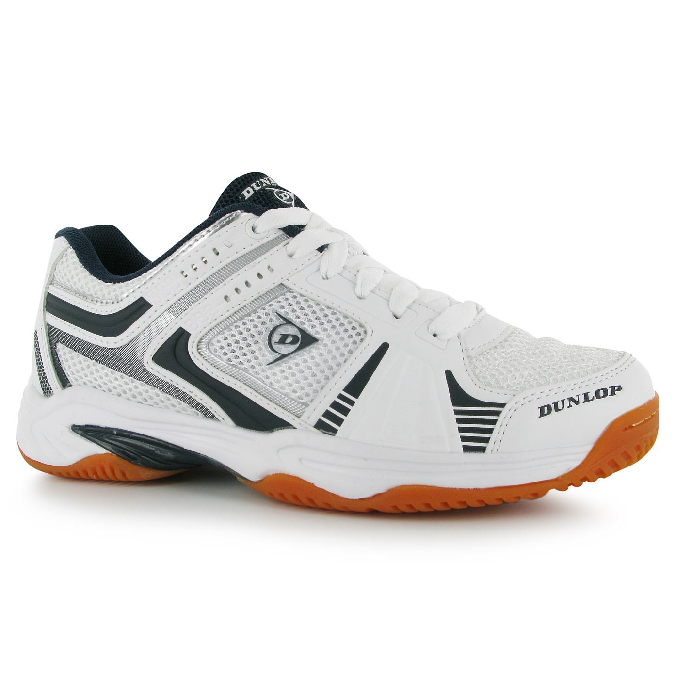 Dunlop Mens Indoor Squash Shoe Molded Non Marking Sole Footwear Brand New White/Navy 13 (47)