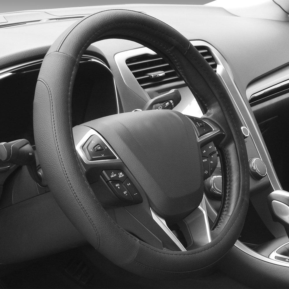 SEG Direct Black and Gray Microfiber Auto Car Steering Wheel Cover Universal 15 inch