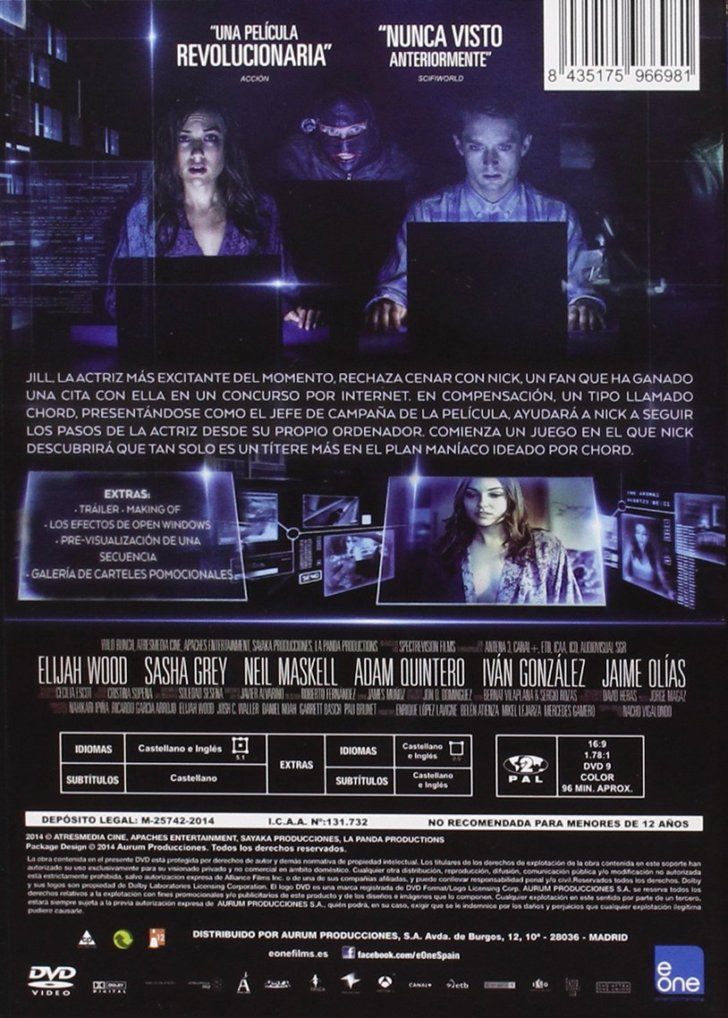 Open Windows [DVD]: Amazon.es: Elijah Wood, Sasha Grey, Nacho Vigalondo: Cine y Series TV