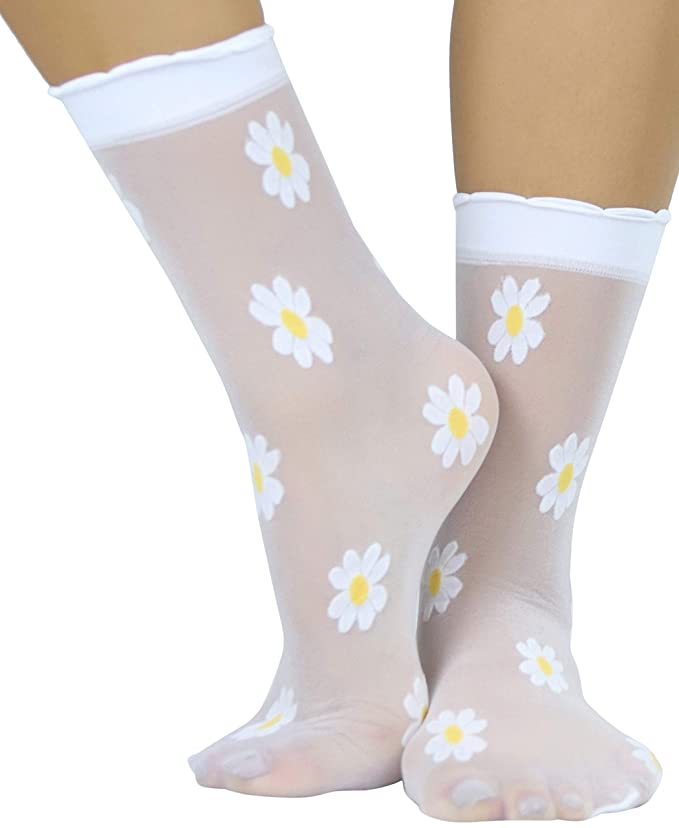 1960s Tights, Stockings, Panty Hose, Knee High Socks ToBeInStyle Womens Springtime Daisy Sheer Anklets $9.95 AT vintagedancer.com