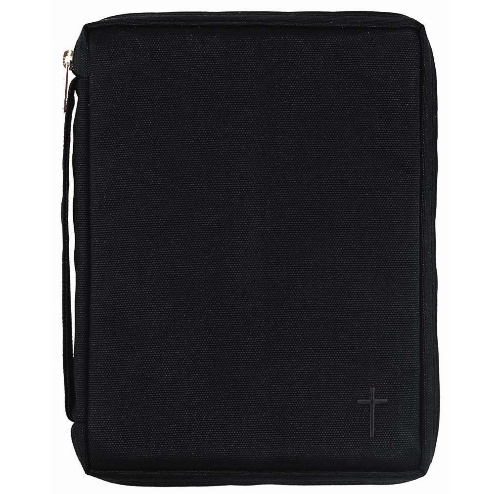 Black Cross 8.5 x 11.5 inch Reinforced Polyester Bible Cover Case with Handle X-Large