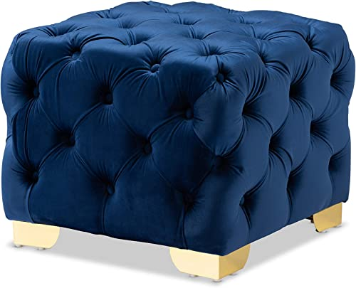 Baxton Studio Ottomans, One Size, Royal Blue Gold