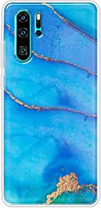 Okteq Clear TPU Protection and Hybrid Rigid Clear Back Cover Case Printed Compatible with Huawei P30 pro- blue golden By Okteq