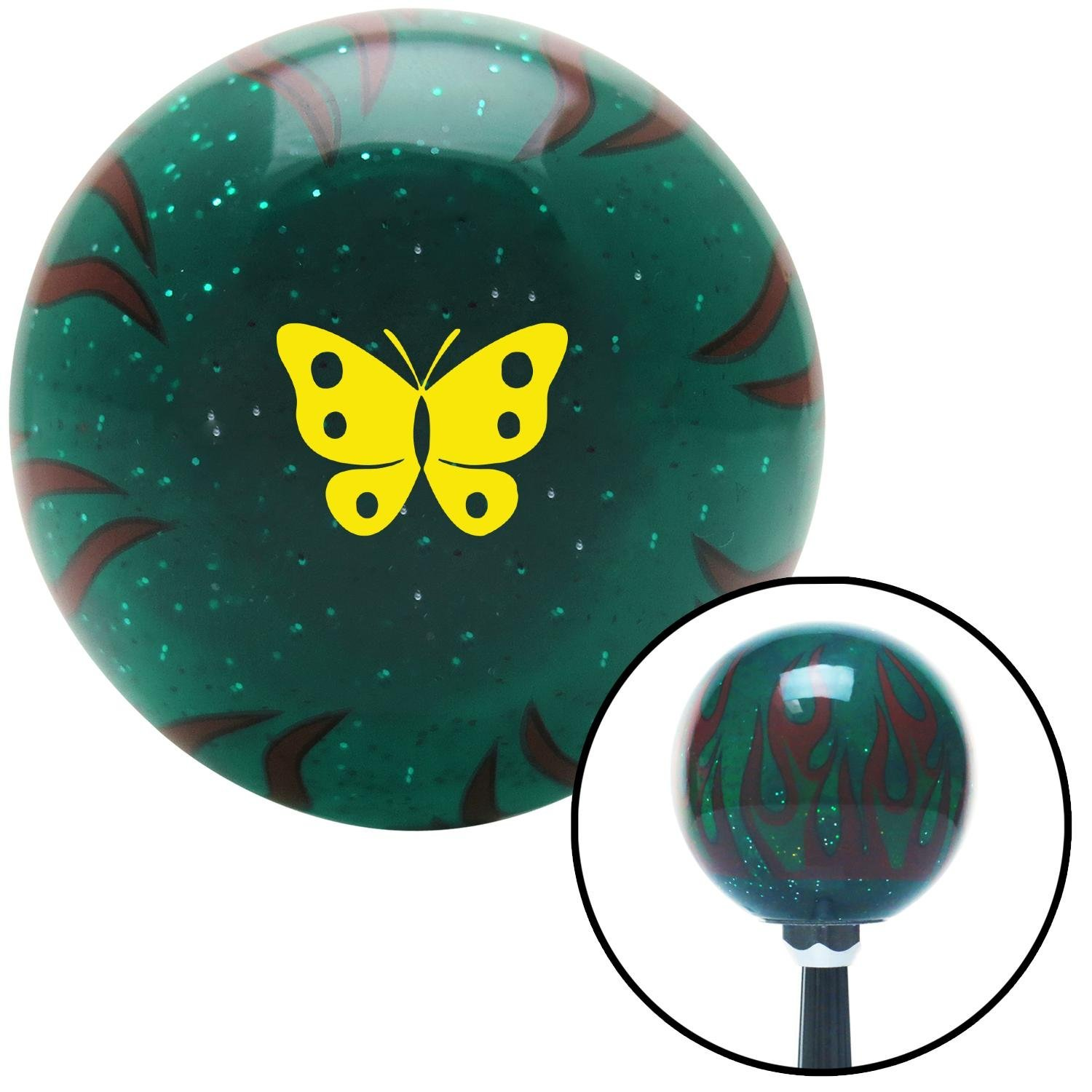 American Shifter 299858 Shift Knob Yellow Classic Butterfly Green Flame Metal Flake with M16 x 1.5 Insert