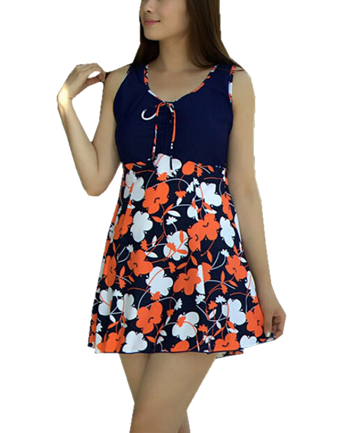 43c6380988 Features: Padding Bra,No Underwire,V Neck,Floral Printed, Elastic,One Piece  Swimdress with Boy Shorts under the skirt, Perfect for big busted,Tummy  control ...