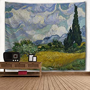 Tapestry Van Gogh Wheat Field Cypresses Tapestry Wall Hanging Home Decor for Living Room Bedroom Dorm Room 80 x 60 inches