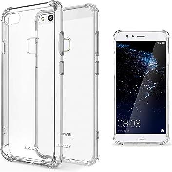 Moozy Coque Silicone Transparente pour Huawei P10 Lite - Anti Choc Crystal Clear Case Cover Étui de Flexible Souple TPU