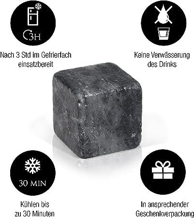 Amazy Cubitos de Hielo Reutilizable (9 cubitos) – Hielos reutilizables hechos de esteatita natural, libre de sabores y olores – El compañero perfecto para enfriar tus bebidas sin aguarlas.