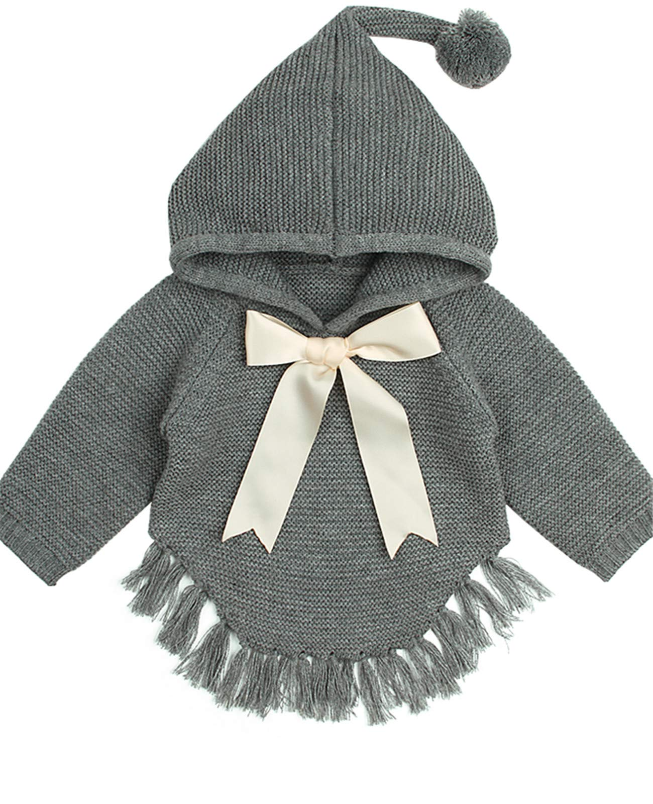 ReachMe Baby Girl Hooded Pullover Sweater Knitted Cardigan Coat Winter Outerwear(Grey,6 Month) by ReachMe