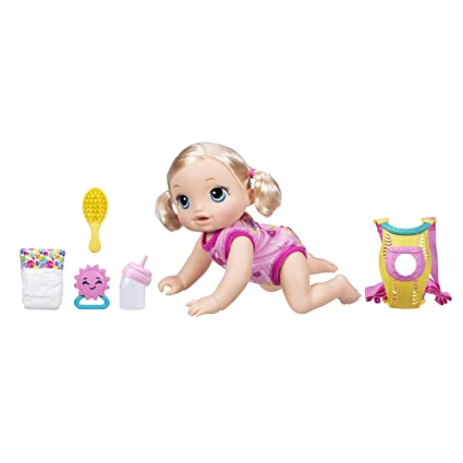 Baby Go Bye Bye Blonde Hair Doll That Talks, Crawls, Drinks, Wets & More,  for Kids Ages 3 Years & Up