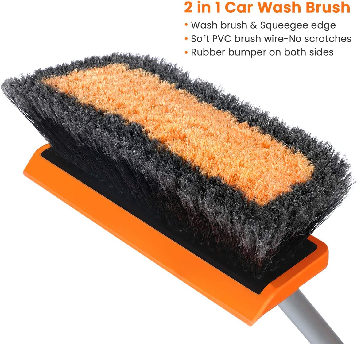 "MATCC Car Wash Brush Head Replacement Soft Bristle 10/""Wash Brush Head with Squeegee Fit 3//4/""Male Thread Pole for Cleaning Auto RV Truck Boat Pool Deck"