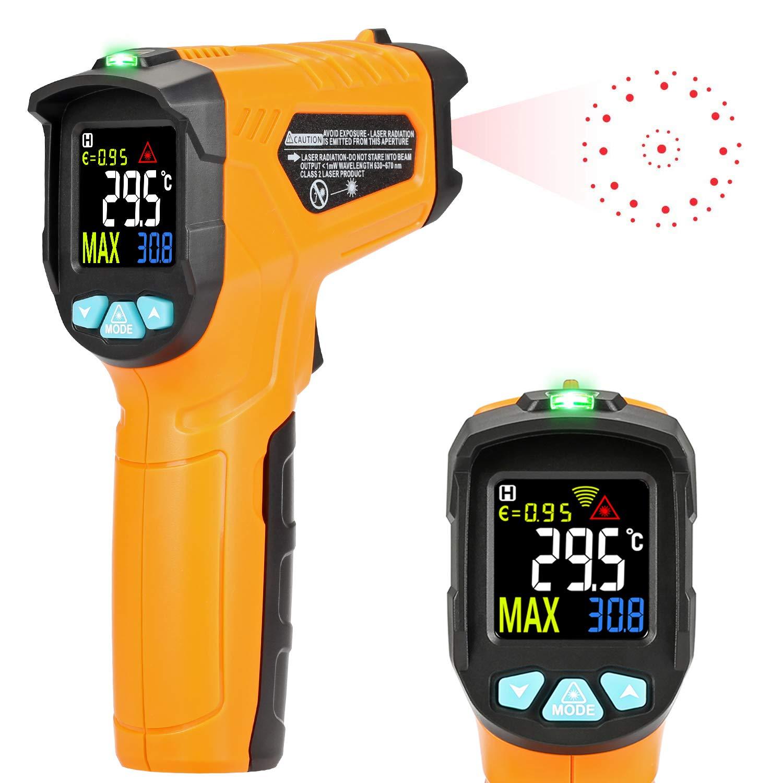 Termómetro de infrarrojos Kasimir AD-50-58 ° F ~ 1112 ° F Digital láser sin contacto infrarrojos pistola de temperatura pantalla a color 12 Punto apertura función de alarma de temperatura