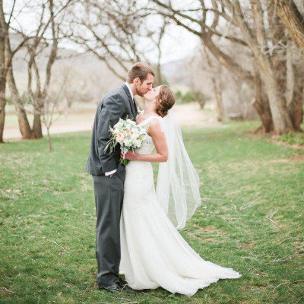 Fingertip velo da sposa in morbido tulle Aukmla lunghezza al gomito con pettine a due strati,/velo da sposa con accessorio per capelli