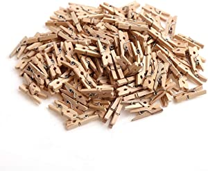 CCINEE 150 PCS Mini Wooden Clothespins,Multi-Function Clothespins Photo Paper Peg Pin Craft Clips for Home School Arts Crafts Decor, 1 Inch