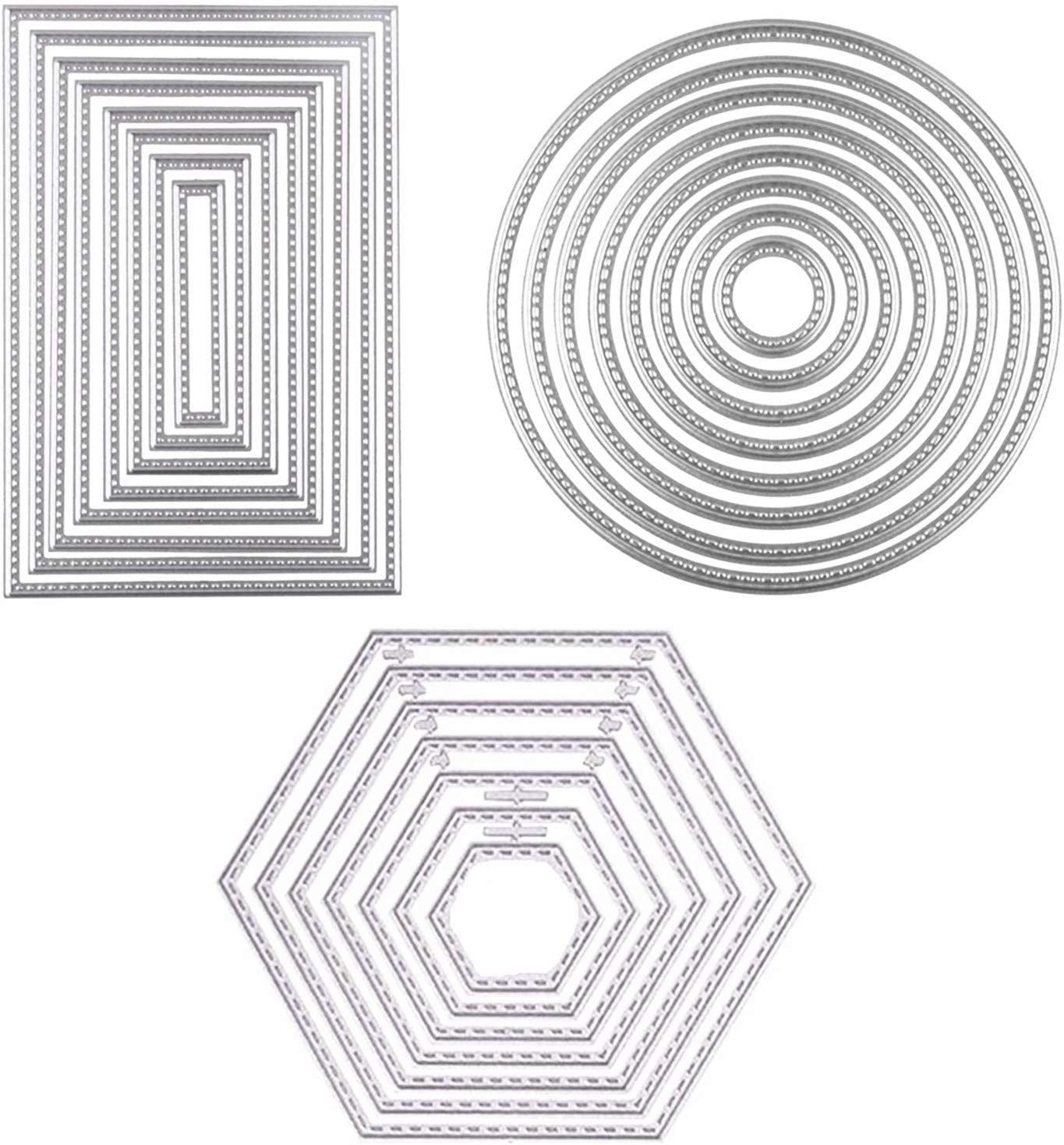 3 Different Shapes of Cutting Dies Stencil Metal Template Molds(Rectangle,Circle & Hexagon),Sweetfamily 24 Pieces Embossing Tools for Card Making,Scrapbooking,Album Paper DIY Crafts