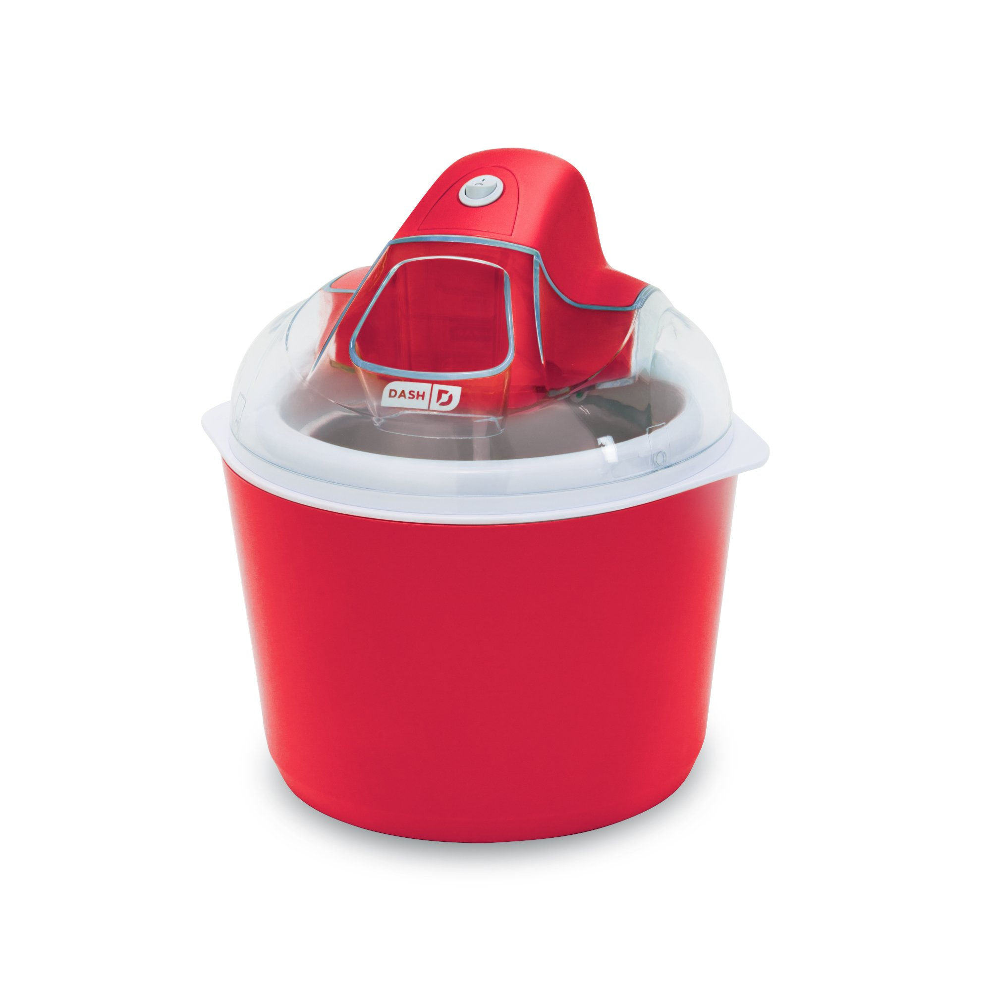 DASH DIC001RD Deluxe Ice Cream Frozen Yogurt and Sorbet Maker with Easy Ingredient Spout, Double-Walled Insulated Freezer Bowl and Free Recipes, 1 quart, Red