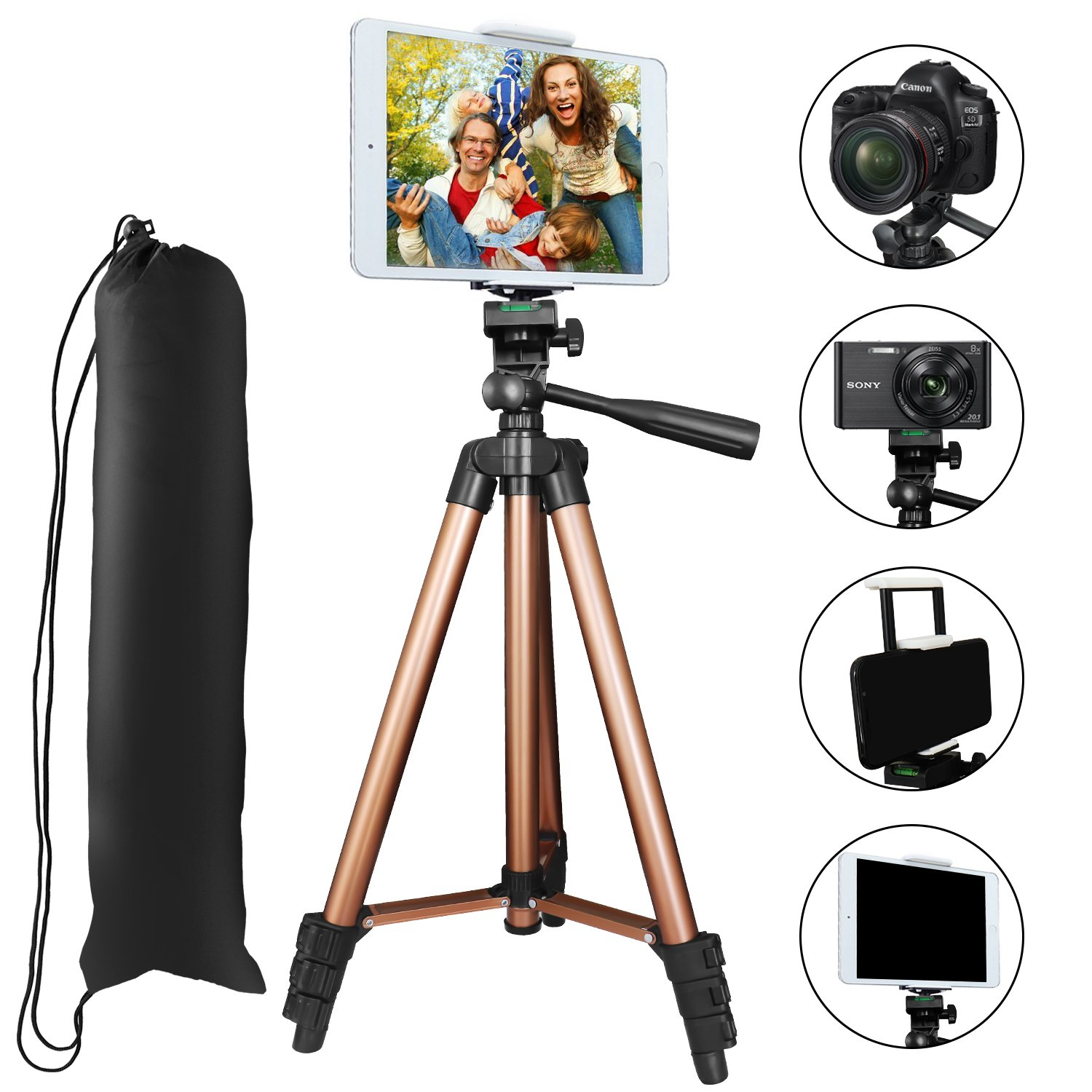 Tripod for iPad and iPhone, PEYOU 50'' Inch Portable Lightweight Aluminum Phone Camera Tablet Tripod with 2 in 1 Universal Mount Holder for Smartphone (Width 2-3.3'') and Tablet (Width 4.3-7.2'') by Peyou