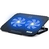 ICE COOREL Soporte de refrigeración para portátil con 2 ventiladores silenciosos y 2 tomas USB. Se pueden ajustar 5…