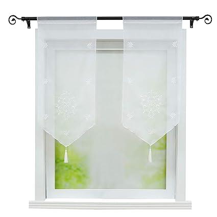 Raffgardine weiß Voile Bistrogardine Fenstergardine Scheibengardine 80x160 cm
