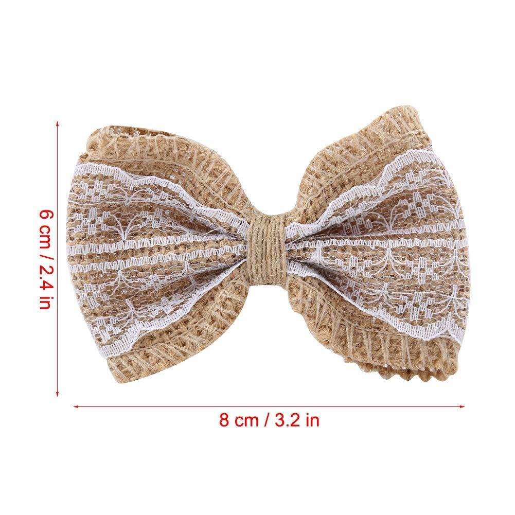 6cm tricotant avec la d/écoration de partie de m/étier de toile de jute de dentelle 8 3pcs jute bowknot /à la main