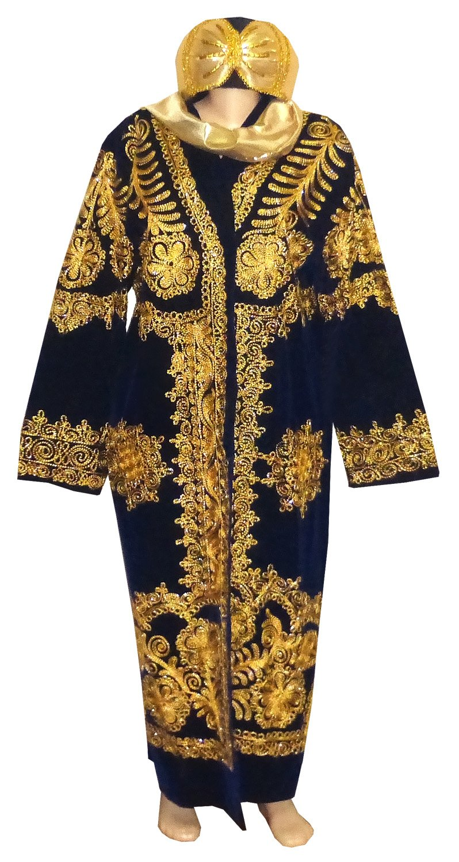 STUNNING UZBEK SILK GOLD EMBROIDERED ROBE CHAPAN & TURBAN HAT BUKHARA A11174