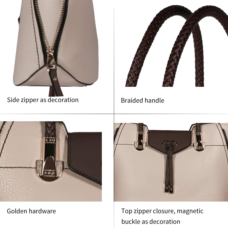 TIBES Women Top Handle Handbags Ladies Satchel Shoulder Bags PU Leather Tote Bags