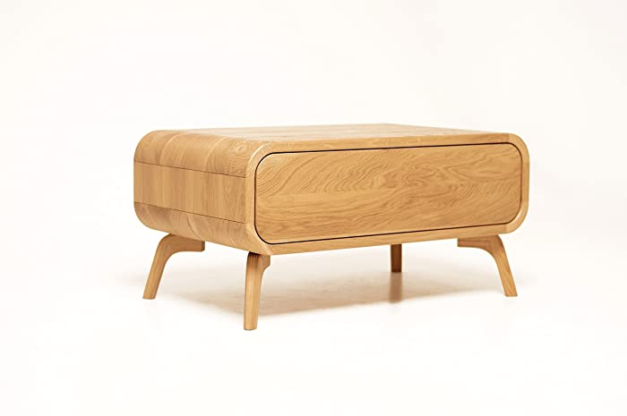 Modern Midcentury Coffee Table Solid Wood Table With Drawer Small Sofa Side  Low Table Handmade Oak