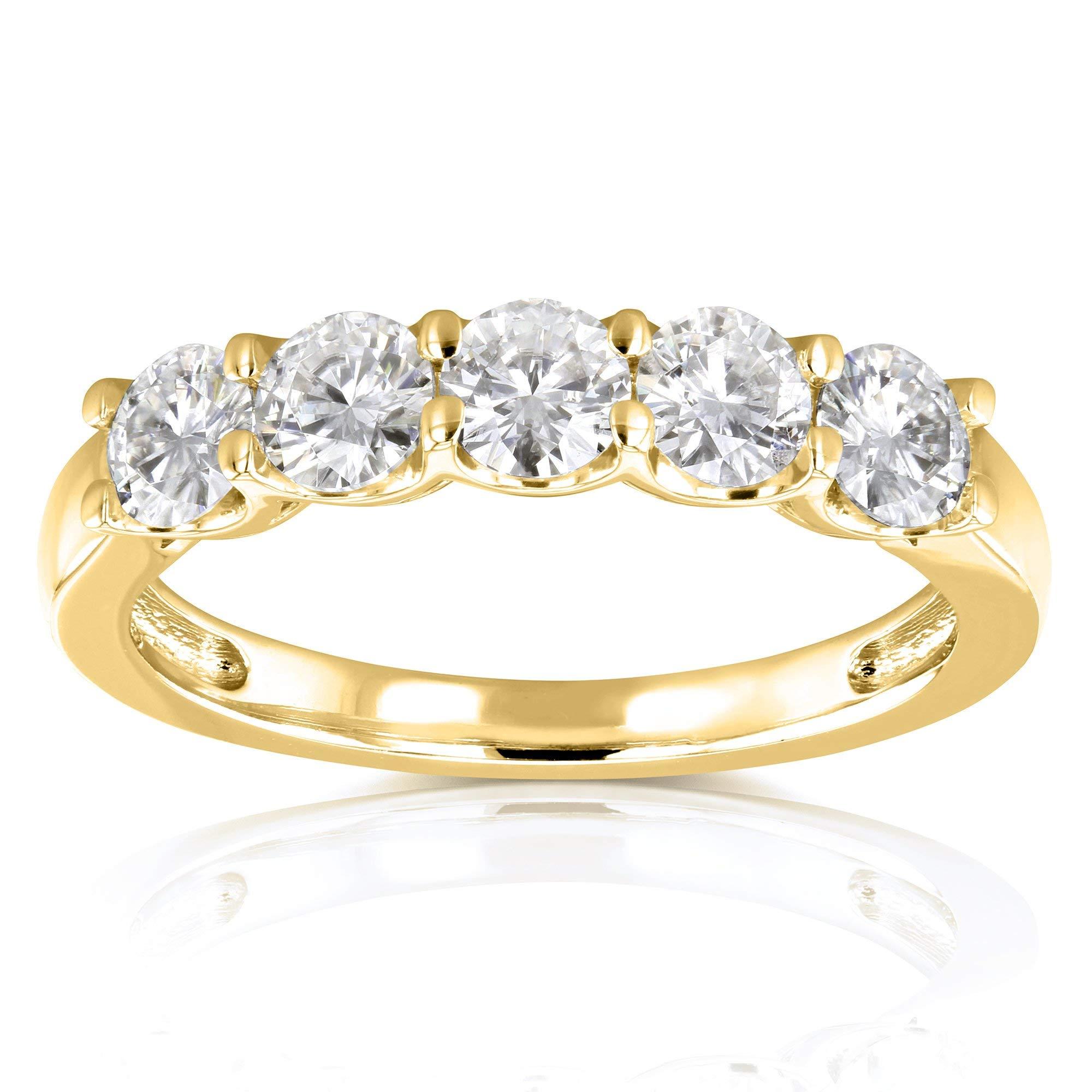 Kobelli Five Stone 4/5 Carat TGW Round Brilliant Near Colorless Moissanite (HI) Bridal Wedding Band in 14k Yellow Gold - Size 10 by Kobelli