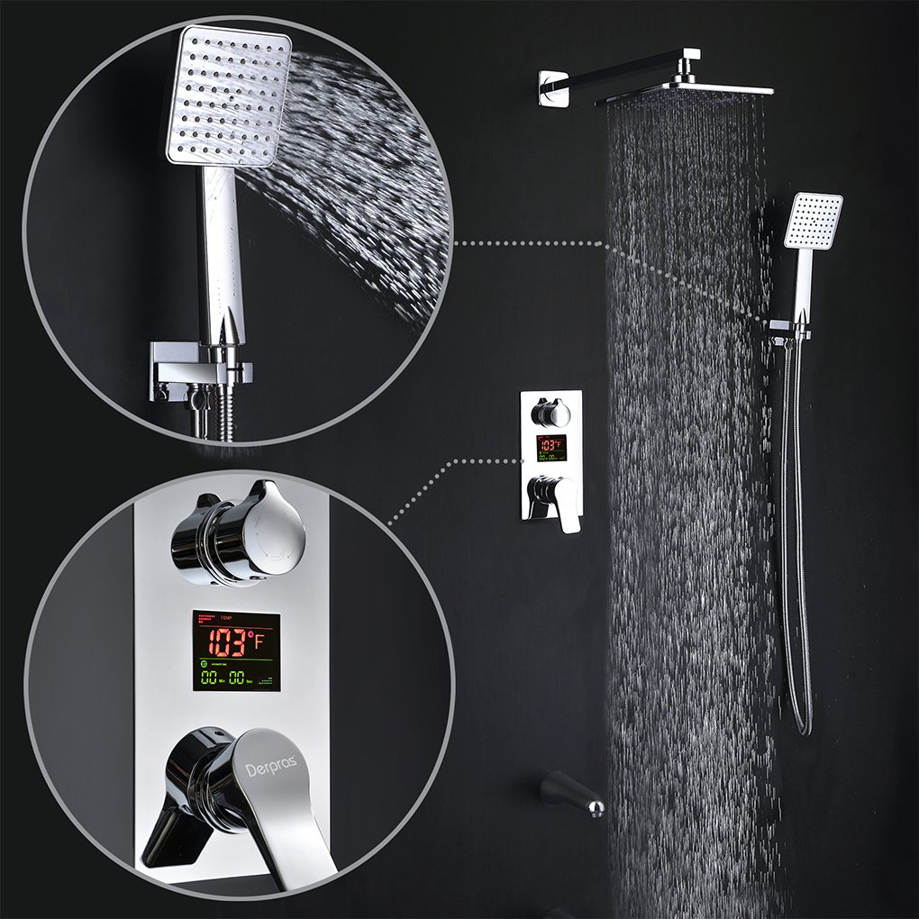Derpras DPS003 LED Digital Display Wall Mount Bathroom Rain Mixer ...