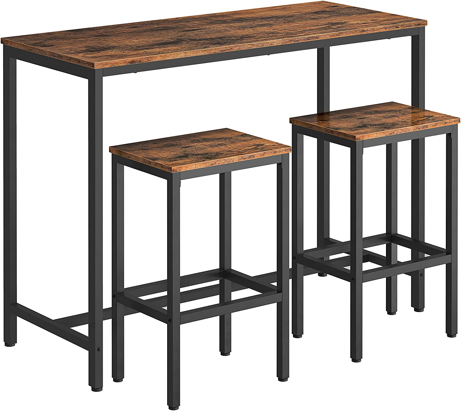 HOOBRO Bar Table Set, Bar Table with Bar Stool, Table and Stool Can Be Used  Separately, Kitchen Counter, Metal Frame, 9 x 9 x 9 cm, for Kitchen, ...