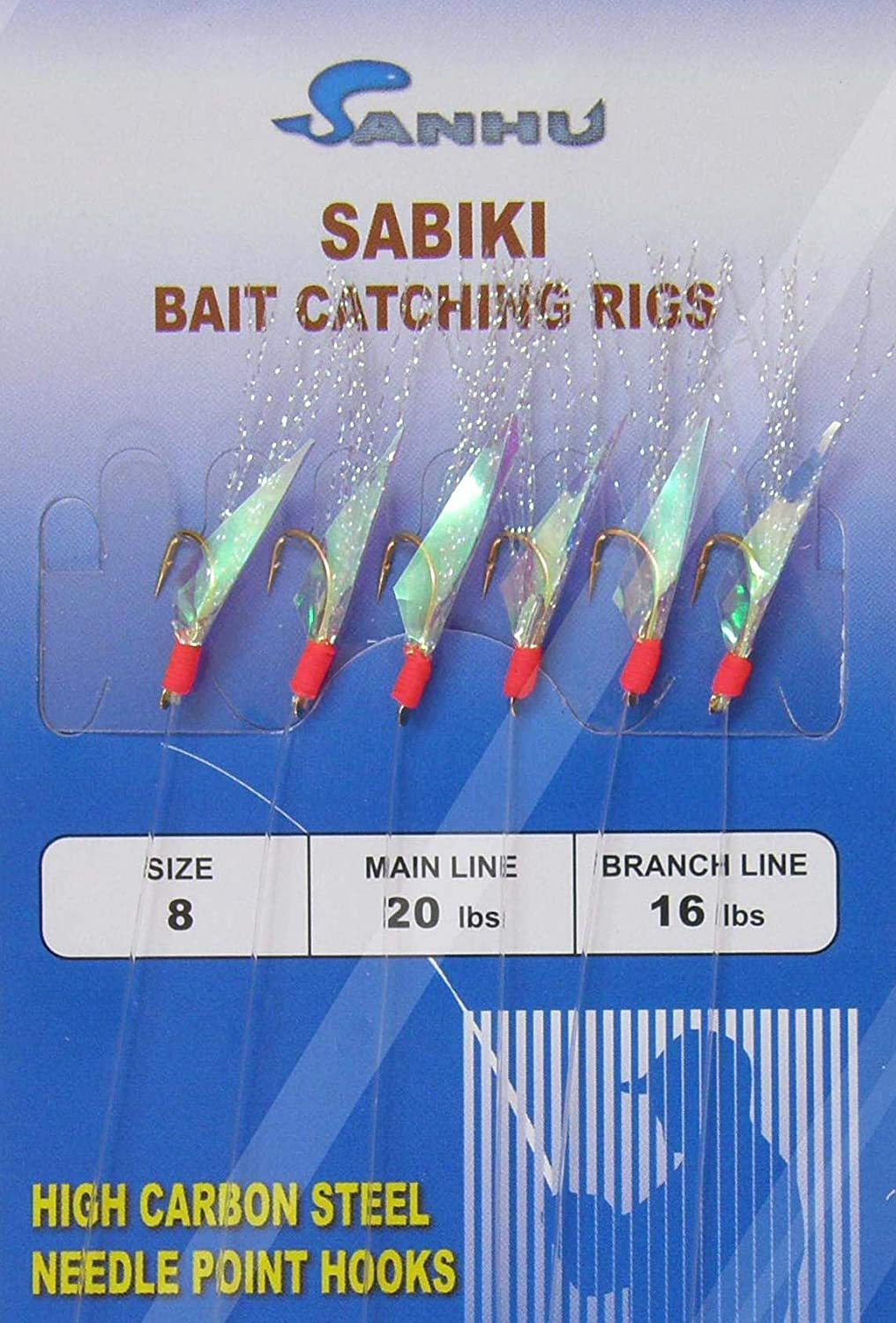 2-100 Packs Size 2 Sabiki Bait Rigs 6 Hooks Red Feather Saltwater Fishing Lures