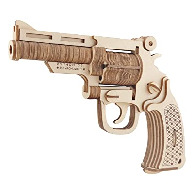 BestPysanky 109 Pieces M19 Bulldog Revolver Gun Model Kit - Wooden Laser-Cut 3D Puzzle: Toys & Games