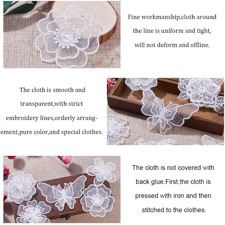 Sew On Patches for Repairing and Decorating Clothing Bags NBEADS 10 Pcs White Mix Style Embroidery Lace Flower Iron On Patches Appliques DIY Sewing Craft for Decoration