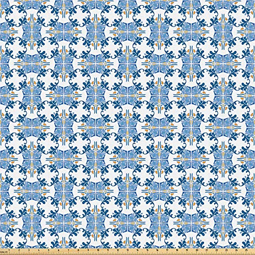 Ambesonne European Fabric by The Yard, Roman Tile and Mosaic Design with Famous Artful Eastern Inspired Image Print, Microfiber Fabric for Arts and Crafts Textiles & Decor, 10 Yards, Blue Yellow