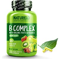 NATURELO B Complex - Whole Food - with Vitamin B6, Folate, B12, Biotin - Vegan - Vegetarian - High Potency - Non GMO - Gluten Free 120 Capsules (No Caffeine)