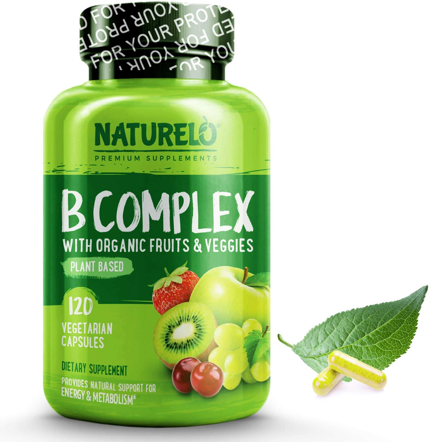 NATURELO B Complex - Whole Food - with Vitamin B6, Folate, B12, Biotin - Vegan - Vegetarian - Best Natural Supplement for Energy and Stress - High Potency - Non GMO - Gluten Free - 120 Capsules by NATURELO